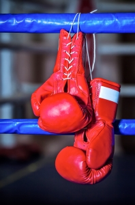A pair red boxing gloves hangs off ring