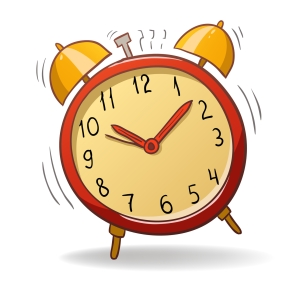Cartoon red alarm clock