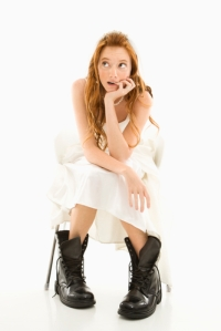 Combat boots with a bridal gown...a fashion statement I wish I'd thought of.
