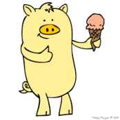 Yellow Pig enjoying peach ice cream.